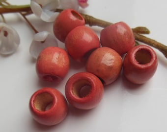 set of 8 barrel wood beads painted
