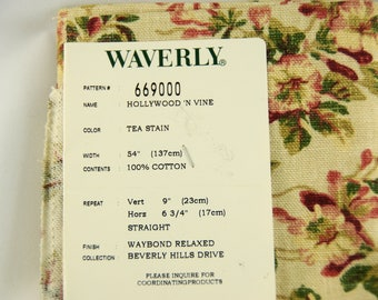 Waverly fabric sample for upcycle/recycle/repurpose, Hollywood 'n Vine from the Beverly Hills Drive collection, 100% cotton, floral,