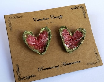 Caladium Leaf Silver Earring Studs, Handcrafted Floral Jewelry