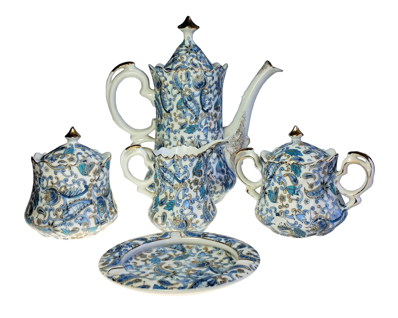 Lefton 8 Pc Blue Paisley Coffee Set Pot Creamer Sugar Jam Pot