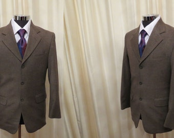 Vintage Garcia Greyish Brown Men's Tweed Wool Professor Jacket Sport Coat Blazer