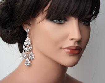 Statement Bridal Earrings Chandelier Wedding Earrings Large Swarovski Crystal Rhinestone Earrings Art Deco wedding Jewelry MAJESTIC LEONA