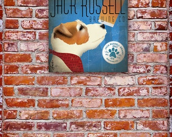 Jack Russell Brewing dog beer Company graphic art on gallery wrapped canvas by Stephen Fowler