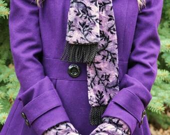 Vine Mittens, Warm Mittens, Purple Mittens, Lined Mittens, , Soft Mittens, Crushed Velvet Mittens Blue Mittens, Purple Mittens, polarmitts