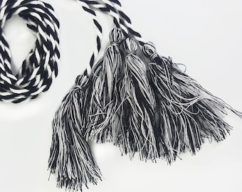 Braided Black and White Fringe Lacing 2 pcs