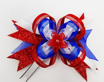 4th Of July Hair Bow, Red White and Blue Bow, Ribbon Patriotic Bow, Memorial Day, Free Shipping, Girls Bow on a French Barrette, American