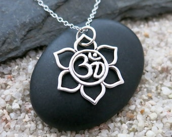 Silver Lotus Om Necklace, Sterling Silver Lotus Om Charm, Yoga Jewelry