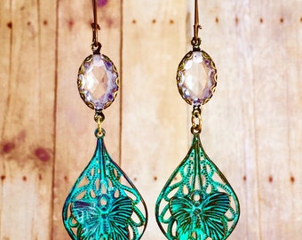 Boho Butterfly, earrings, patina earrings,butterfly jewelry with vintage crystals and ear wires.