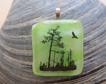 0242 - Soaring Eagle and Trees on Fused Glass Pendant
