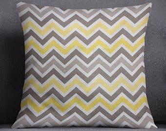 Yellow Gray Chevron Pillow Cover, Nursery Decor Pillow, Decorative Throw Pillow, Room Decor, Grey-Yellow-White Pillow, Zigzag Accent Pillow