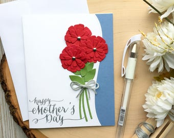 Mothers Day Card, Handmade Card, Happy Mothers Day, Flower Mothers Day Card, Card for Mom, Love Mom, Moms Day Card, Floral Card, Grandmother