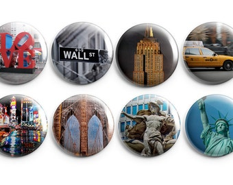"8 New York City buttons - Set of Eight 1.25"" Pinback Buttons, Magnets, or Flair, Empire State Building, Statue of Liberty"