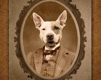 5x7 inch Hot Digital Dog Smiling Pitbull Terrier
