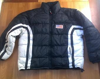 Tommy Hilfiger jacket, nylon vintage Tommy jacket of 90s hip-hop clothing, 1990s hip hop sailor college jacket, OG, gangsta rap, size XL