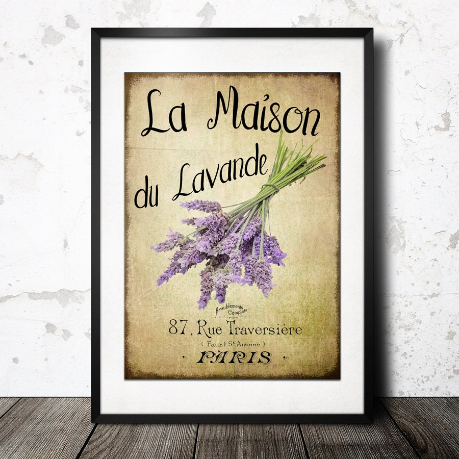 Vintage French Lavender Graphics Wall Art \