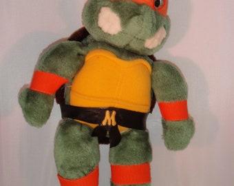 Vintage Teenage Mutant Ninja Turtles Plush Michaelangelo Mikey Plush 1980s 1990s
