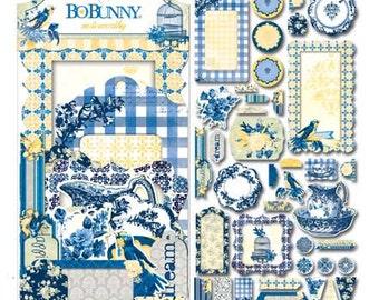 Bo Bunny Genevieve Noteworthy - Genevieve Noteworthy - Blue and Yellow Card Pieces - BoBunny Genevieve Noteworthy - Cardstock Pieces - 4-059