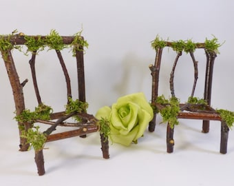 Fairy Chair Set   Pixie, Fae, Handcrafted, Fairy House, Dollhouse Furniture,