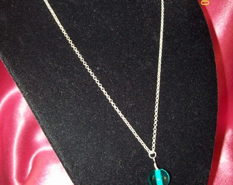 Single Teal Green Glass Ball Necklace