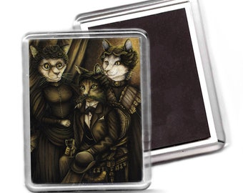 Arsenic and Old Lace Victorian Cat Art Fridge Magnet