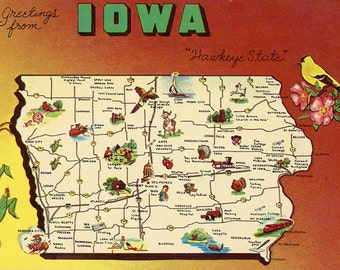 Iowa State Map Hawkeye State Vintage Postcard (unused) TEACHER CLASSROOM