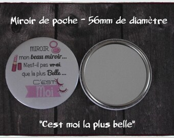 """Gift Pocket mirror personalized """"Mirror, the more beautiful it's me"""" - great birthday party"""