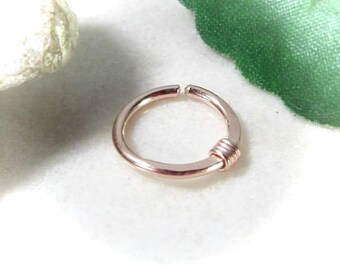Nose Rings Pink Gold with Pink Gold Wrap - Nose Ring, Septum Ring, Pink Gold Nose Ring, Rose Gold Nose Ring, Pink Gold Septum, Rose Septum