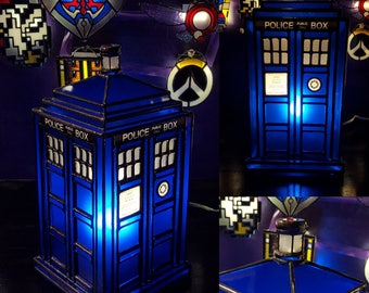 3D Stained Glass Tardis Inspired Lamp - Comission