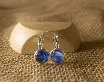 Beautifully Handcrafted, Pacific Ocean, Blue, Green, Fluid Art, Photo Earrings