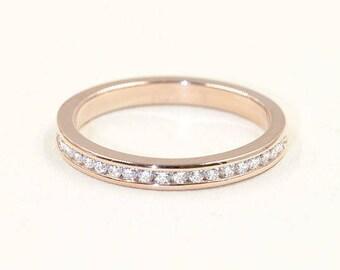 Channel Set Diamond Eternity Ring, Half Eternity Band, 14k Rose Gold, High Quality Natural 0.28ct Diamond Band, Diamond Matching Band