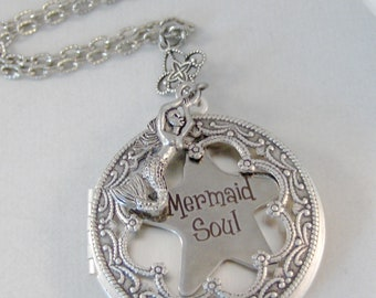 Mermaid Soul,Mermaid Necklace,Mermaid Jewelry,Mermaid pendant,Ocean Necklace,Nautical Neckalce,Mermaid Locket,Siren Necklace,valleygirdesign