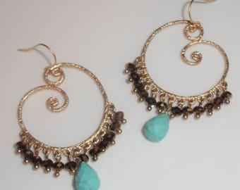 Matte Gold Swirl Simulated Turquoise Drop Beaded Fringe Cha Cha Style Dangle Pierced Earrings