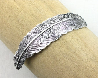 10 sterling silver FEATHER jewelry CUFF Bracelet piece 83mm x 17mm (ST4b)