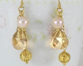 Dangle Earrings, Wire Wrapped Drop Earrings, Freshwater Pearls, Champagne Glass Drop