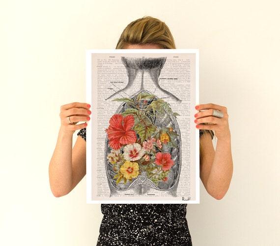 Flowers on my back   Print-Wall art. Human anatomy Chic Science prints art, anatomy and flowers art ,gifts wall art, SKA098PA3