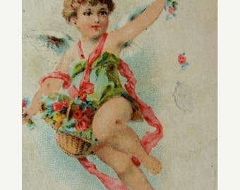 ONSALE One 1800s Antique Beautiful Lithograph Cherub Angel Lettered Game Card for Altered Art