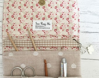 Cream dotty storage pouch knitting/crochet/sewing/planner