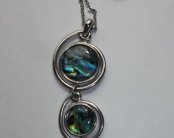 Paua abalone pendant Silver tone  Necklace  *CC