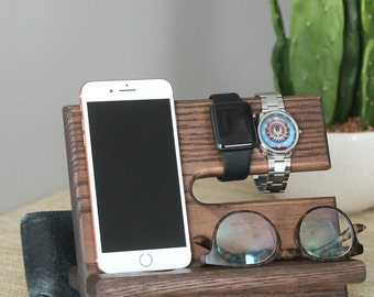 Wallet Location Included Oak Nightstand Valet |  Phone Charging Dock | Wood Docking Station | Personalized Phone Stand