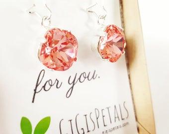 Coral Drop Earrings - Coral Swarovski Earrings - Rose Peach Earrings - Bridesmaid Earrings - Bridal Earrings - Mint Wedding - Coral Wedding