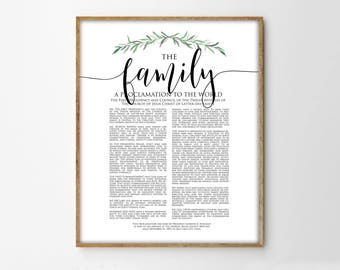 The Family Proclamation Print, LDS Family Proclamation, Modern Family Proclamation, Printable, LDS Print, LDS Art, printable