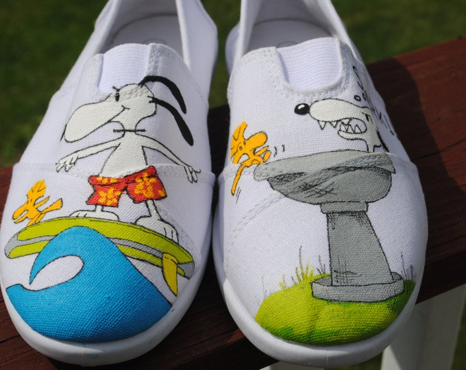 Cool Fun Design Snoopy and Woodstock playing size 6- 6.5 white slip ons - sold