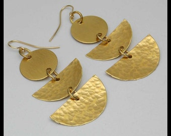 VIXEN - Handforged Hammered Bronze 3 Section Statement Earrings
