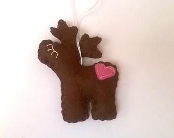 Felt Reindeer ornament - felt ornaments - Christmas ornament - brown reindeer - felt Christmas decor - Housewarming - home decor
