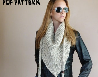 KNITTING PATTERN Triangle Scarf Knitted Cowl Pattern Triangle Cowl Bandana Kerchief Neckwarmer Fall Fashion PDF Pattern