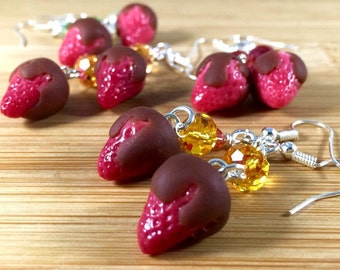 Polymer clay chocolate covered strawberries and swarovski crystal earrings