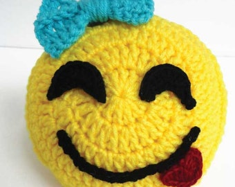 Emoji Crochet Face, Express your Emotions with a savouring emoji face. Perfect As a Gift for Any Occasion. Pricing Includes One Emoji Face