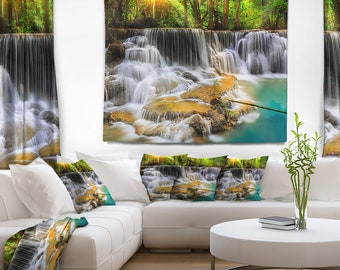 Designart Kanchanaburi Province Waterfall Photography Wall Tapestry, Wall Art Fit for Wall Hanging, Dorm, Home Decor