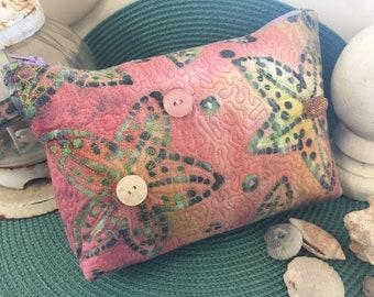 Pink And Green Starfish Cosmetic Bag