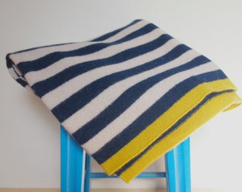 Available In 3 Sizes - Knitted Lambswool Navy And Off White Striped Blanket